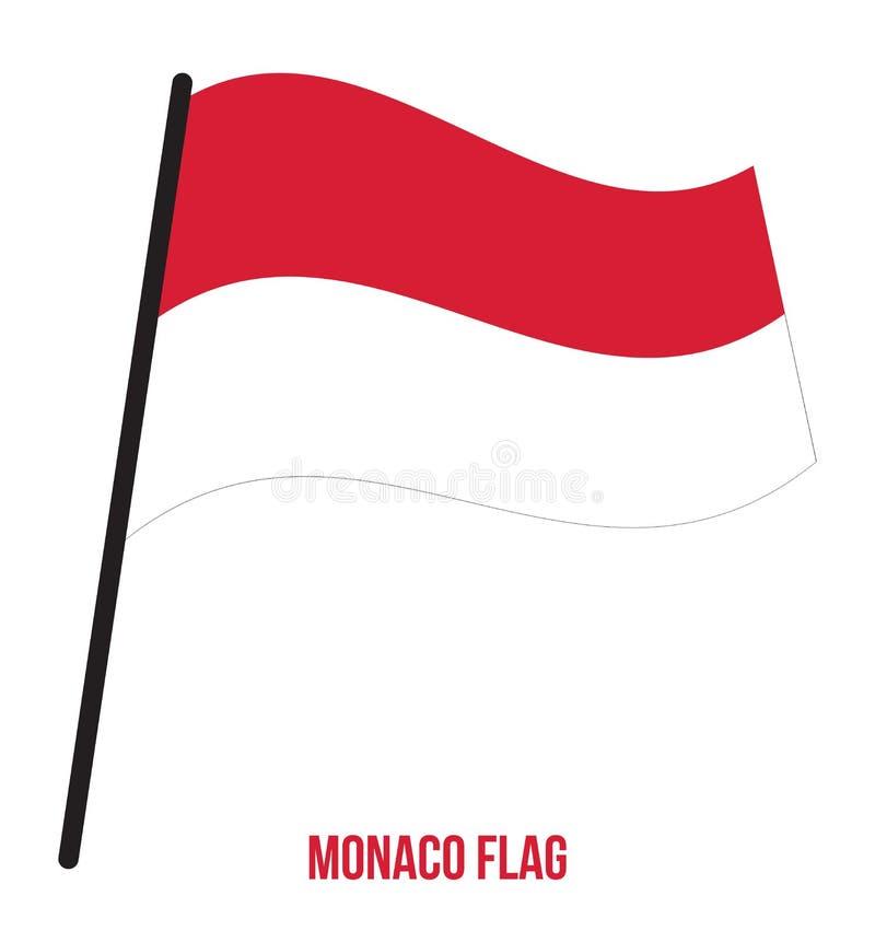 Illustration för vinkande vektor för Monaco flagga på vit bakgrund monaco för bakgrundsflaggaillustration nationell white stock illustrationer