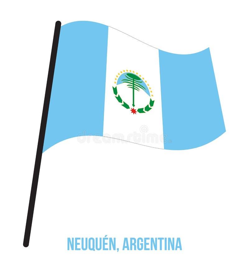 Illustration för vinkande vektor för NeuquÈn flagga på vit bakgrund Flagga av Argentina landskap royaltyfri illustrationer