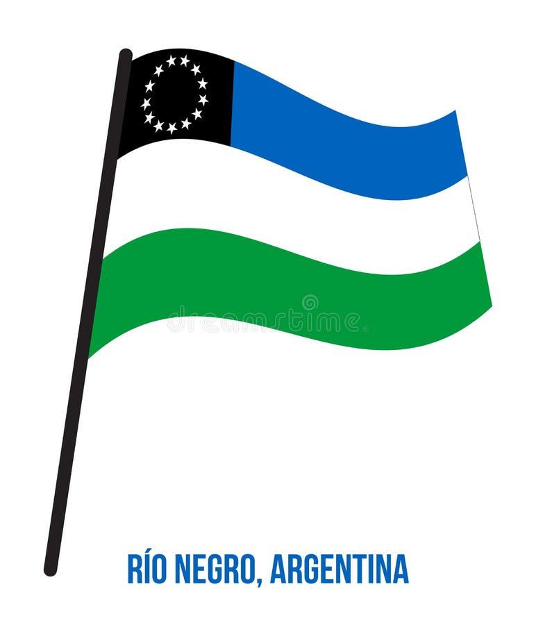 Illustration för vinkande vektor för RÃŒo neger- flagga på vit bakgrund Flagga av Argentina landskap stock illustrationer