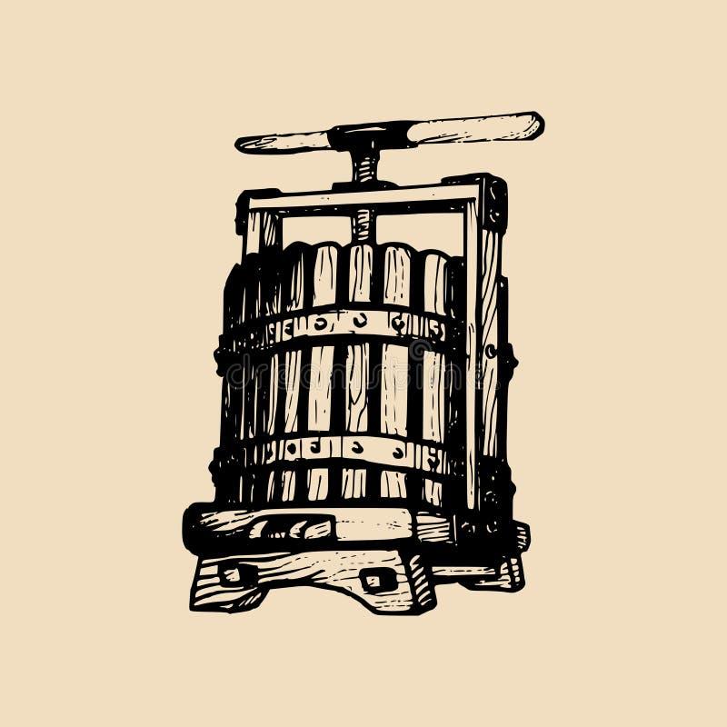 Illustration för vinpress Vektoralkoholdrycklogo Hand skissad vinemaking beståndsdel i inristad stil stock illustrationer
