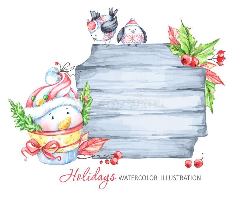 Illustration för vinterferier Vattenfärgträram med snögubben och fåglar stock illustrationer