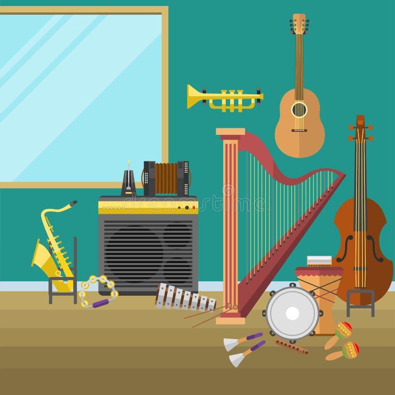Illustration för volym för rekord för producent för musikstudiomusikinstrument inre royaltyfri illustrationer