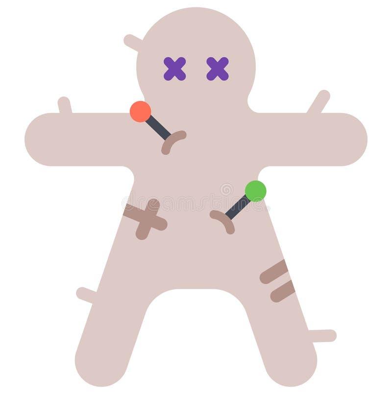 Illustration för voodoodockalägenhet stock illustrationer