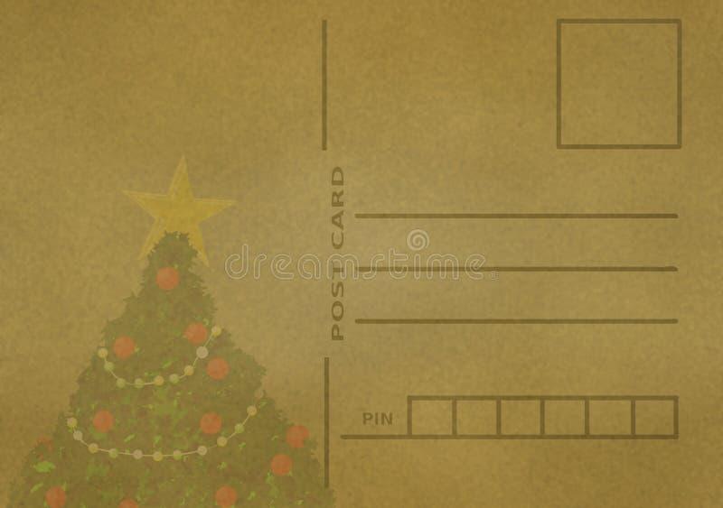 Illustration för vykort för hög tappning för upplösning antik gammal tom med den dekorerade julgranen vektor illustrationer