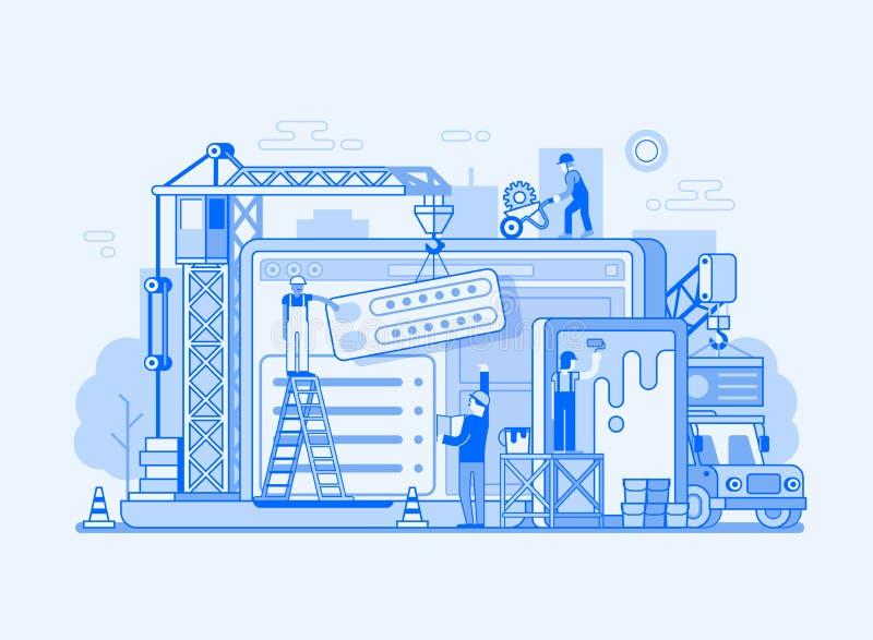 Illustration för webbplatsmanöverenhetsbyggnad stock illustrationer