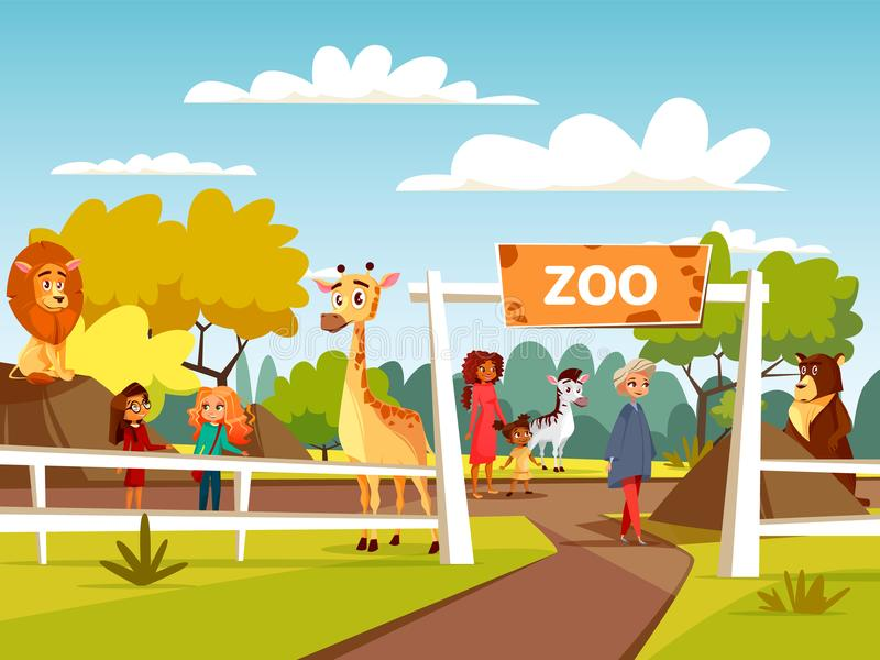Illustration för zoovektortecknad film eller daltazoo med djur och besökare familj och barn royaltyfri illustrationer