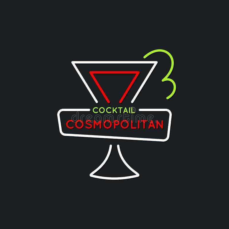 Illustration für das alkoholische Cocktail der Barkarte kosmopolitisch Vector Federzeichnung eines Getränks auf einem Hintergrund vektor abbildung