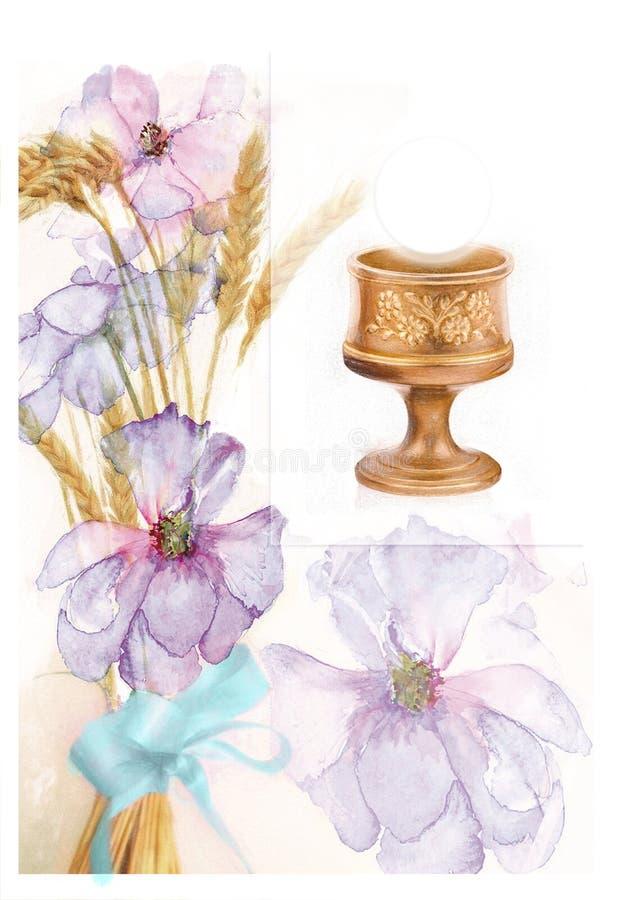 Illustration für die erste Kommunion mit Messkelch und Blumen lizenzfreie abbildung