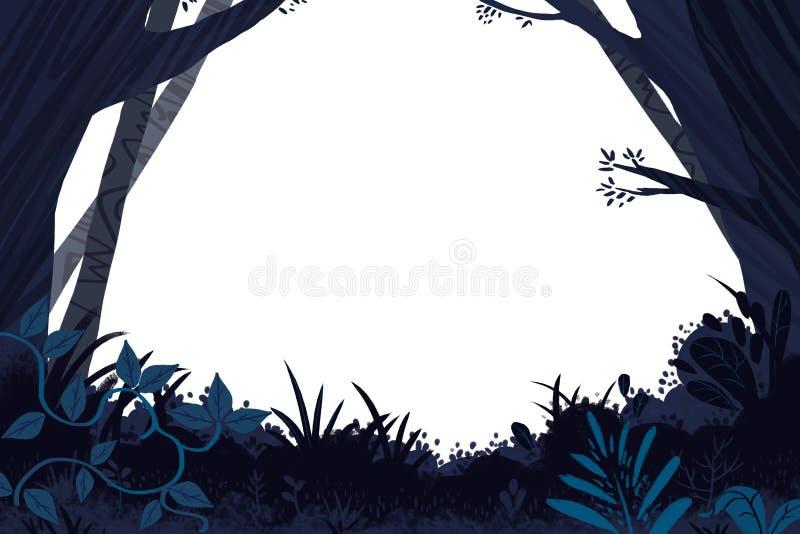 Illustration für Kinder: Dunkler Forest Card Frame vektor abbildung