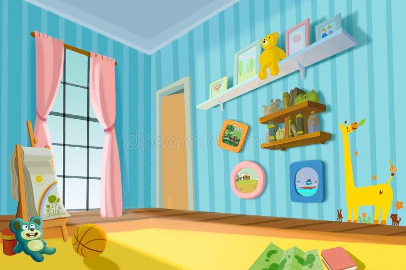 Illustration für Kinder: Süßer Kinderraum stock abbildung