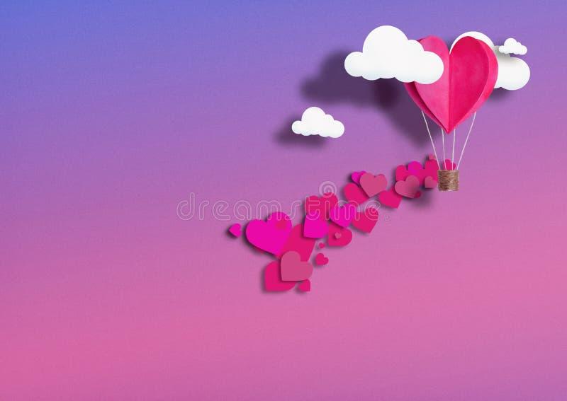 Illustration für Valentinsgruß ` s Tag Lebendes Herz formte die Ballone, die korallenrote Fliege unter den Wolken und der Loblieb stockbild