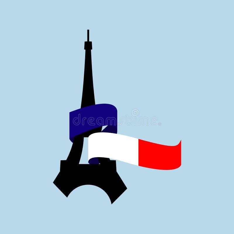 Illustration f?r design f?r mall f?r Frankrike flaggavektor vektor illustrationer