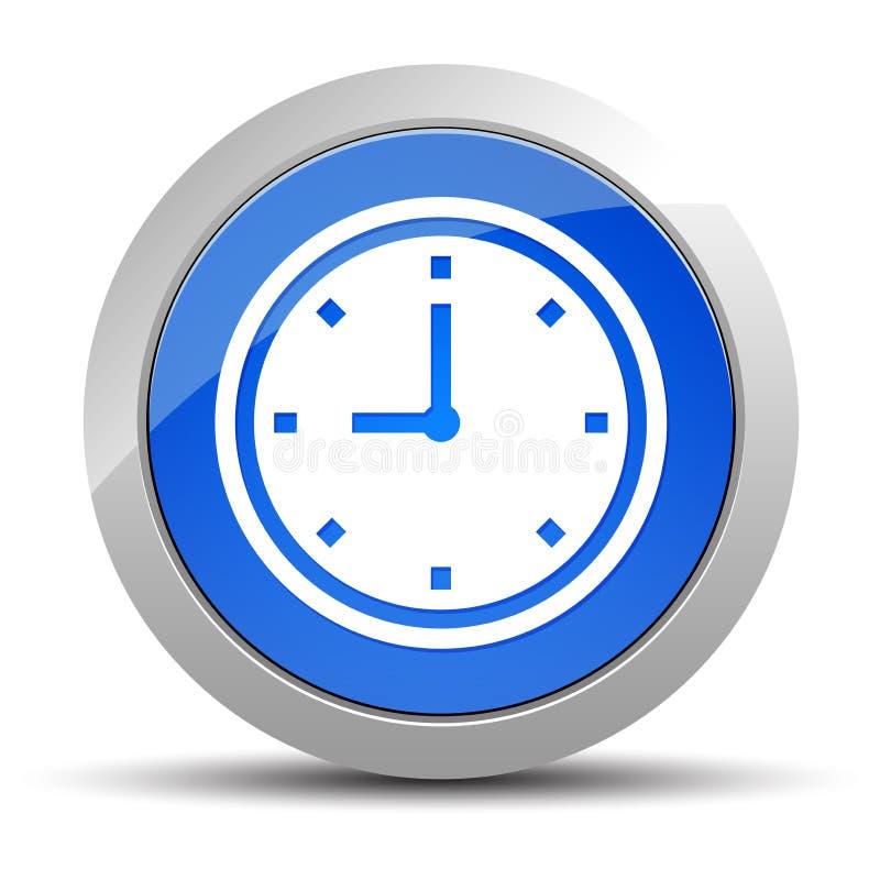 Illustration f?r knapp f?r klockasymbol bl? rund royaltyfri illustrationer