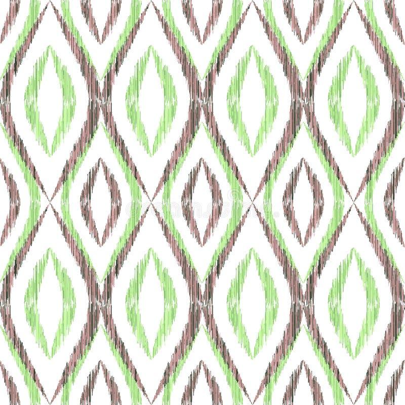 Illustration f?r modell f?r vektor f?r Ikat ogee s?ml?s stock illustrationer