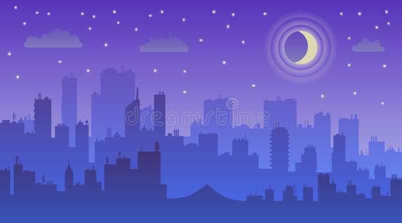 Illustration f?r nattstadsvektor M?rk stads- scape stock illustrationer