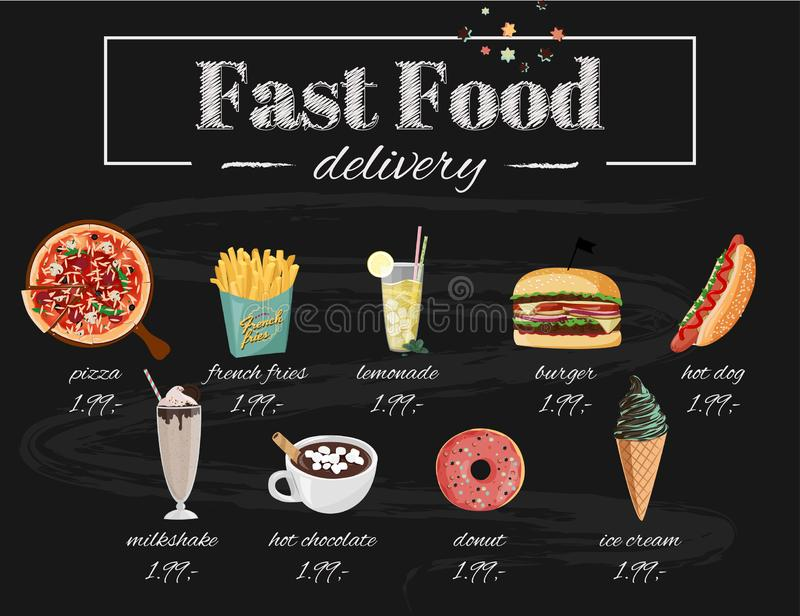 Illustration f?r snabbmatkaf?meny St?ll in av utdragna vektorm?l f?r hand Pizza varmkorv, hamburgare, milkshake, varm choklad vektor illustrationer