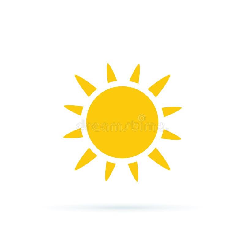 Illustration f?r solsymbolsvektor Coror knappupps?ttning Moderiktigt sommarsymbol för websitedesignen, rengöringsdukknapp Gul kon stock illustrationer