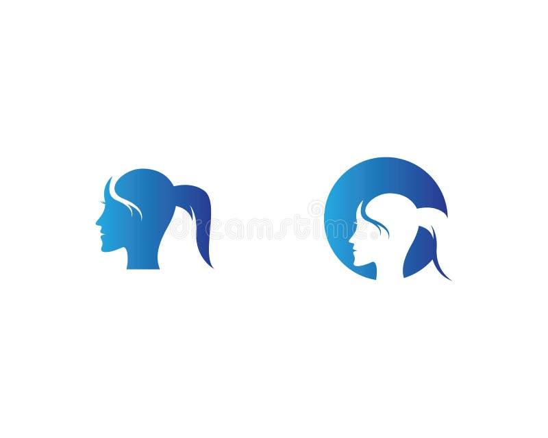 Illustration f?r tecken f?r kvinnaframsidakontur vektor illustrationer