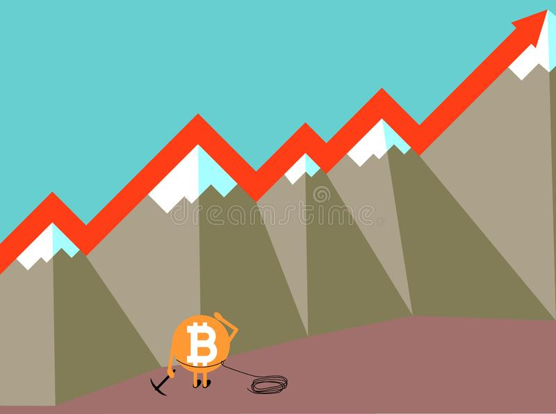 Illustration f?r vektor f?r begrepp Bitcoin f?r crypto valuta v?xande vektor illustrationer