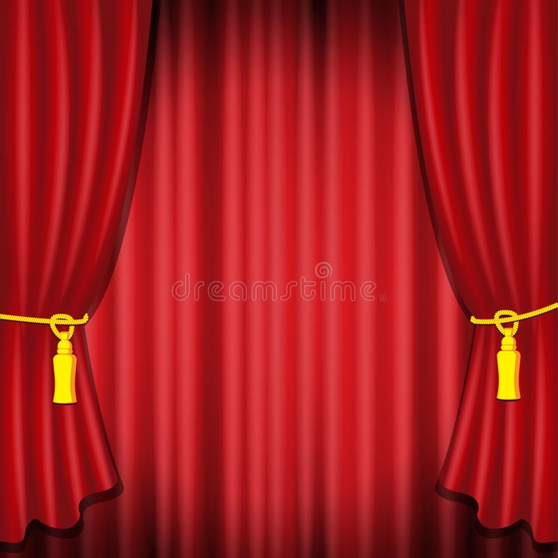 Illustration f?r vektor f?r r?d etappgardin realistisk f?r teater- eller operaplatsbakgrund, storslagen ?ppning f?r konsert eller stock illustrationer