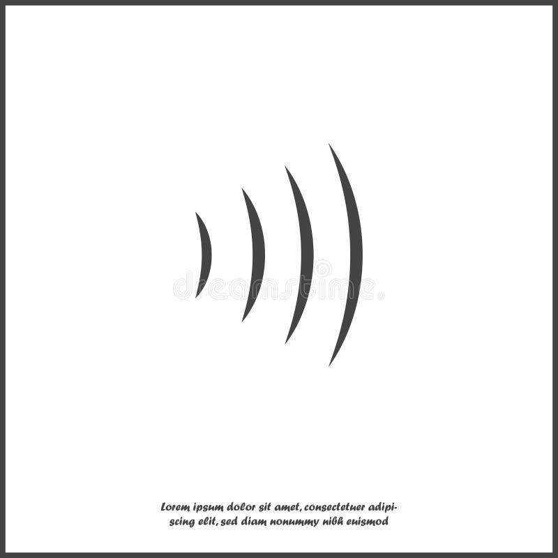 Illustration f?r vektor f?r solid v?g Utstr?lning f?r radiov?g Anslutning för Wi Fi på vit isolerad bakgrund stock illustrationer