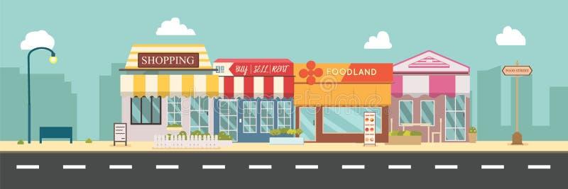 Illustration f?r vektor f?r stadsgata- och lagerbyggnader, en plan stildesign Affärsskyltfönster i stads- stock illustrationer