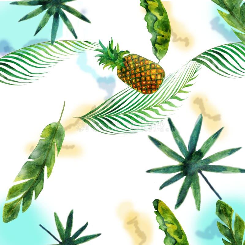 Illustration fabriquée à la main d'aquarelle de la banane, de l'ananas, de la noix de coco et des palmiers, d'isolement sur le fo illustration de vecteur