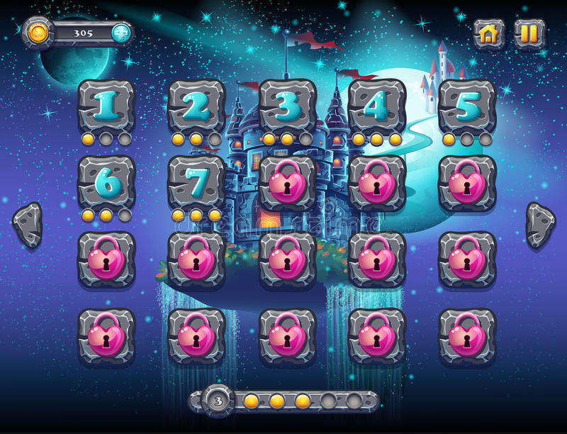 Illustration fabulous space with cheerful planets with the example screen levels, the game interface with a progress bar, panel ob. Jects, buttons for gaming or stock illustration