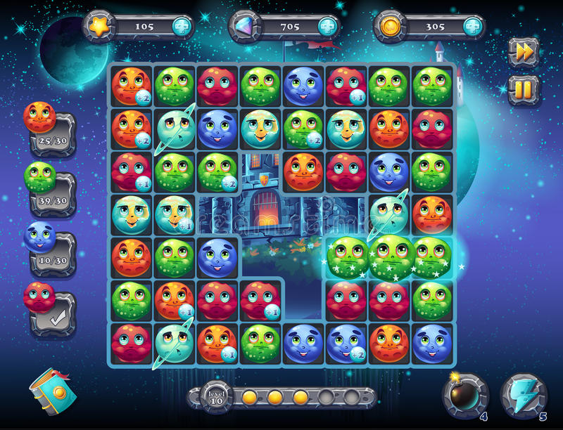 Illustration fabulous space with the image of the game screen with the interface of the game playing field with fun planets as vector illustration