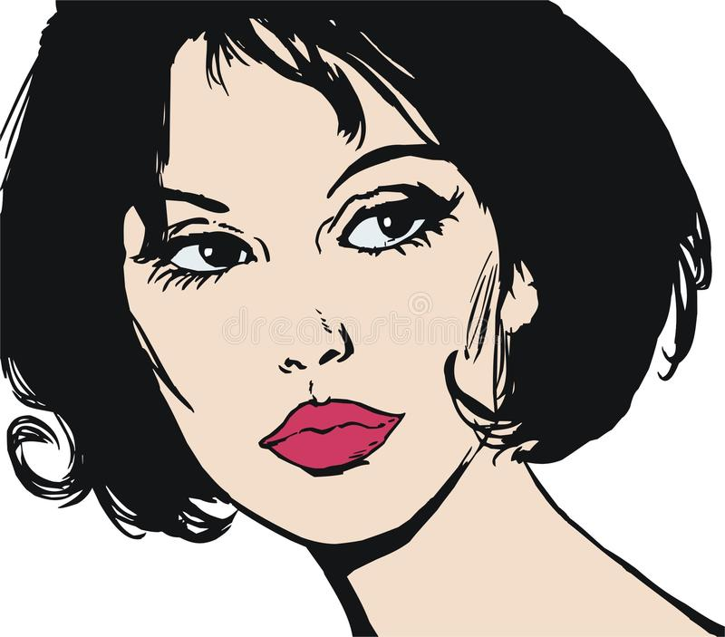 Illustration of the face of a beautiful woman vector illustration