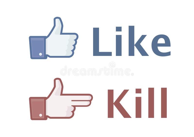 Like and kill stock illustration