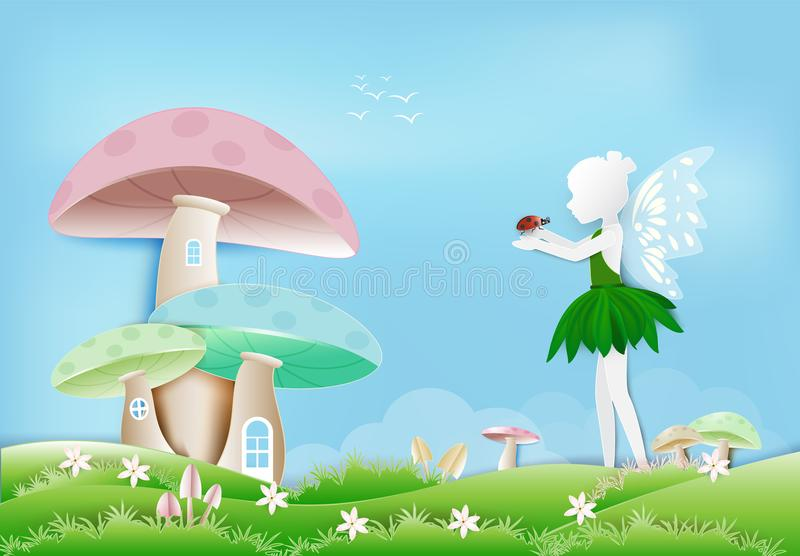 Fairy with ladybug in garden and mushroom house paper art style. Illustration of Fairy with ladybug in garden and mushroom house paper art, paper cut style vector illustration