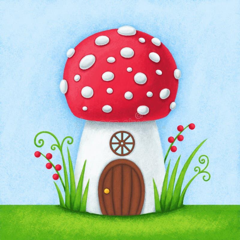 Illustration of the fairytale mushroom house stock illustration
