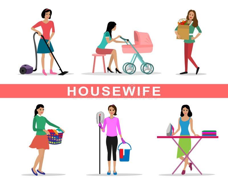 Illustration faisante réglée de vecteur des travaux domestiques de femme au foyer de jeune femme illustration de vecteur