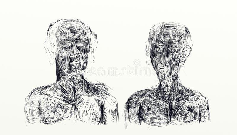Illustration faite avec le nankin montrant le buste de deux hommes côte à côte illustration libre de droits