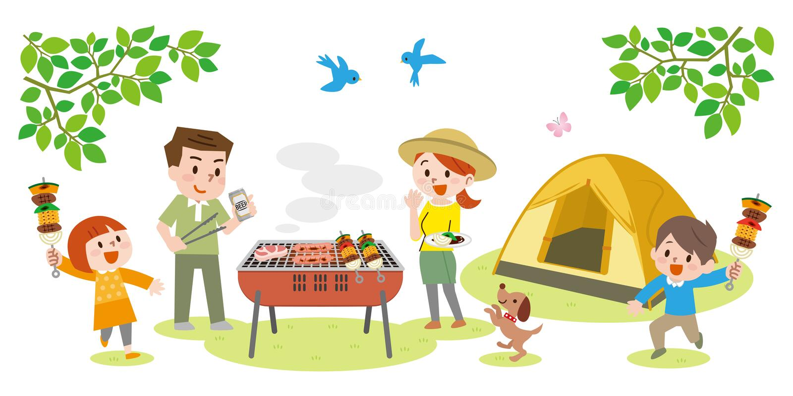 Illustration of family enjoying barbecue outdoors vector illustration