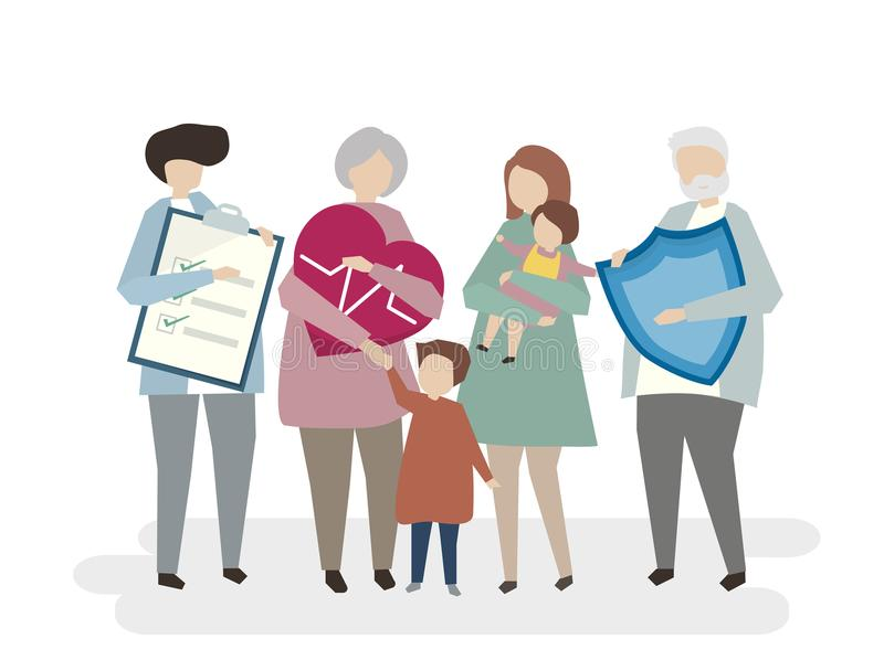 Illustration of family life insurance health check well being concept vector illustration