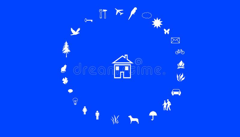 Illustration of family values. A house in the middle of a circle with family values. stock photos