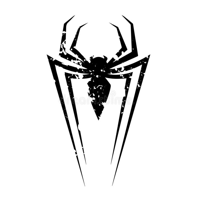 Spiderman logo in grunge style. Illustration of famous spiderman logo on white background. Vector illustration in grunge style.. An additional Vector .Eps file royalty free illustration