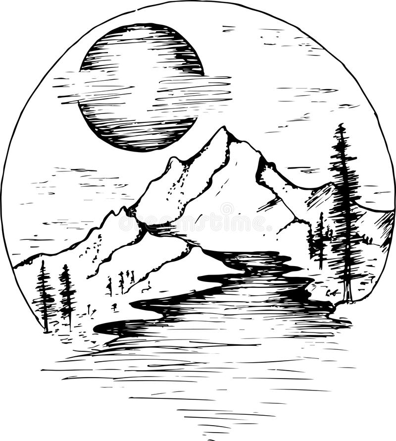 Illustration of fir, moon, clouds and river. royalty free illustration