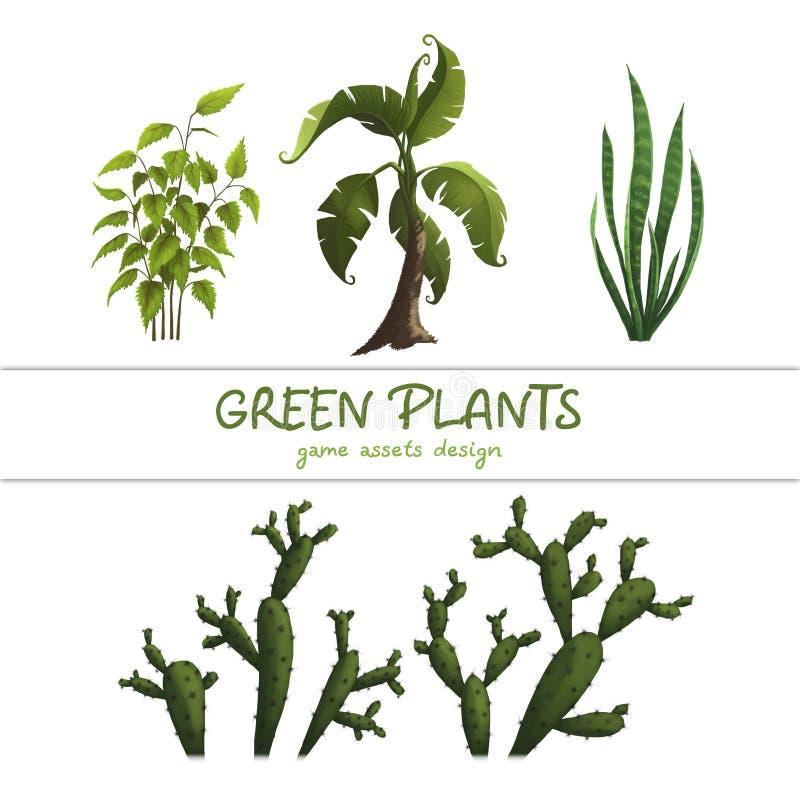 Illustration of fantastic plants, game art. Isolated on white. Background vector illustration