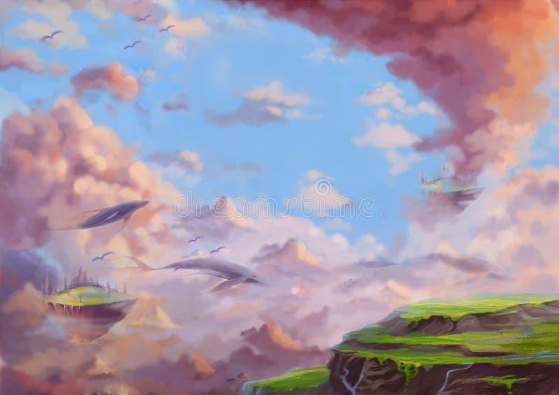 Illustration: A Fantastic Wonderland with flying Lands and Whales. vector illustration