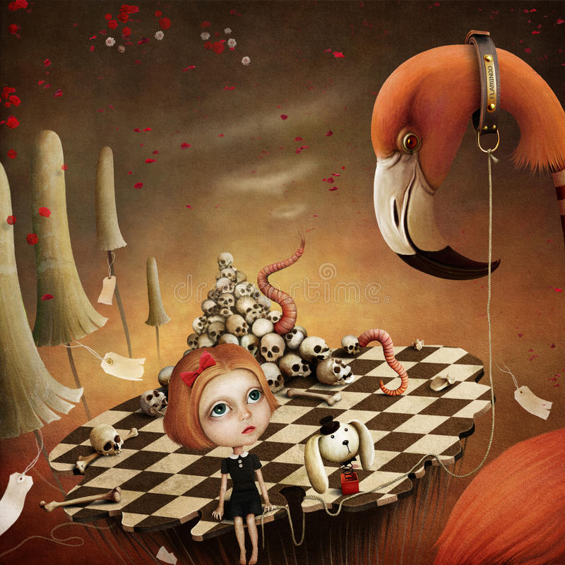 Illustration fantastique Alice et flamant illustration stock