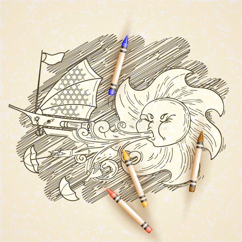 Illustration fantastique de vecteur avec le vent solaire illustration de vecteur