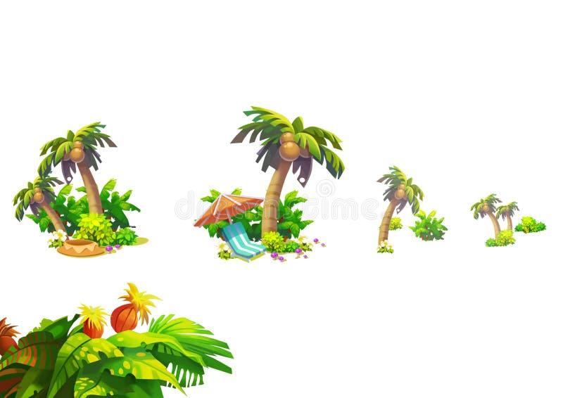 Illustration: Fantastisk tropisk strandbeståndsdeluppsättning 3 Kokosnöt, blomma, växtgrupp etc. vektor illustrationer