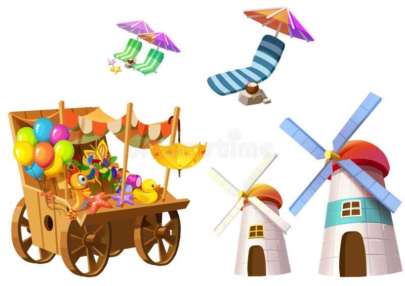 Illustration: Fantastisk tropisk strandbeståndsdeluppsättning 4 Livsmedelsbutikvagn, torn, strandstol etc. royaltyfri illustrationer