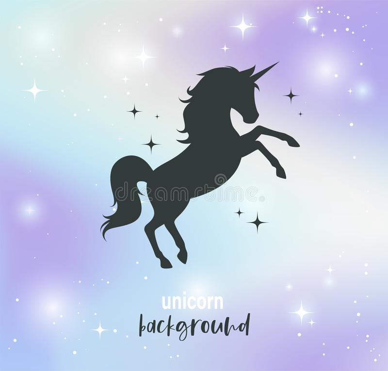 Illustration of fantasy nebula background in pastel colors and unicorn`s silhouette on it. Vector. vector illustration