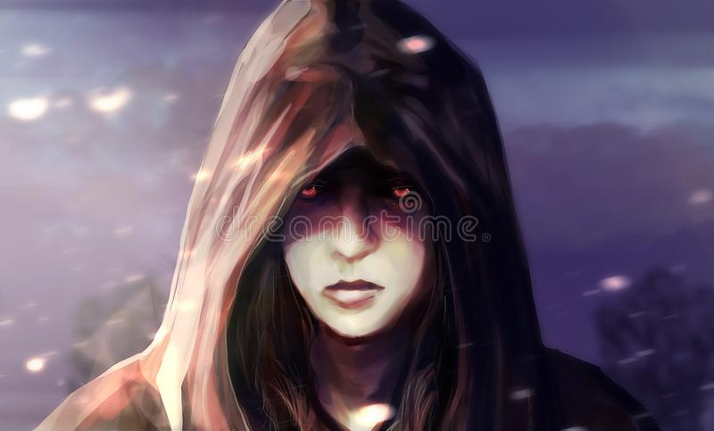 Woman face in hood illustration. Illustration of a fantasy woman face in hood with glowing eyes and blue landscape background vector illustration