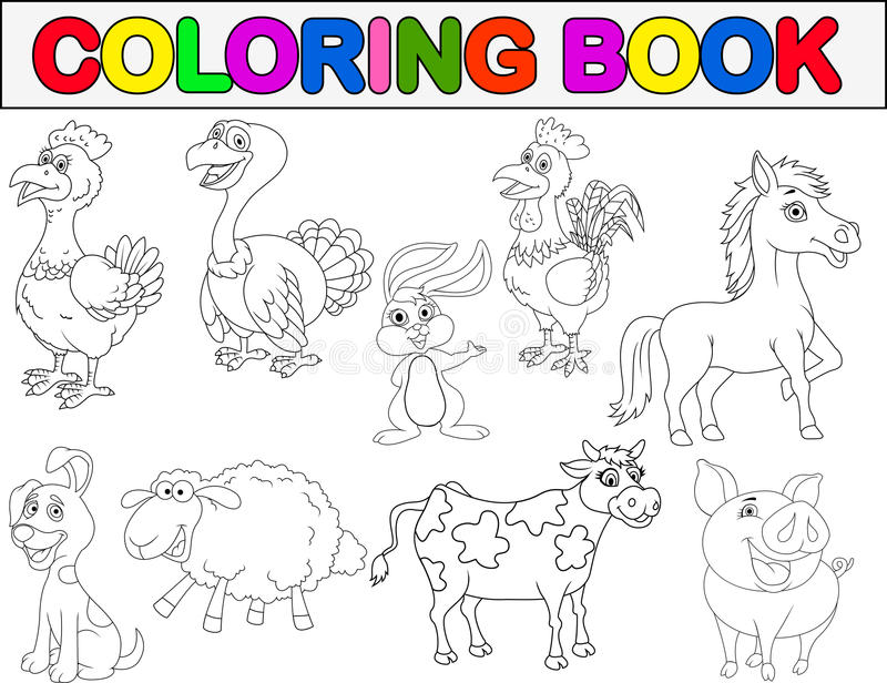 Farm animal coloring book stock vector. Illustration of stony - 29822124