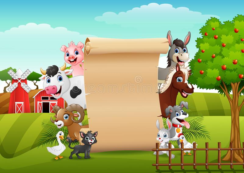 Farm animals with a blank sign roll up. Illustration of Farm animals with a blank sign roll up vector illustration